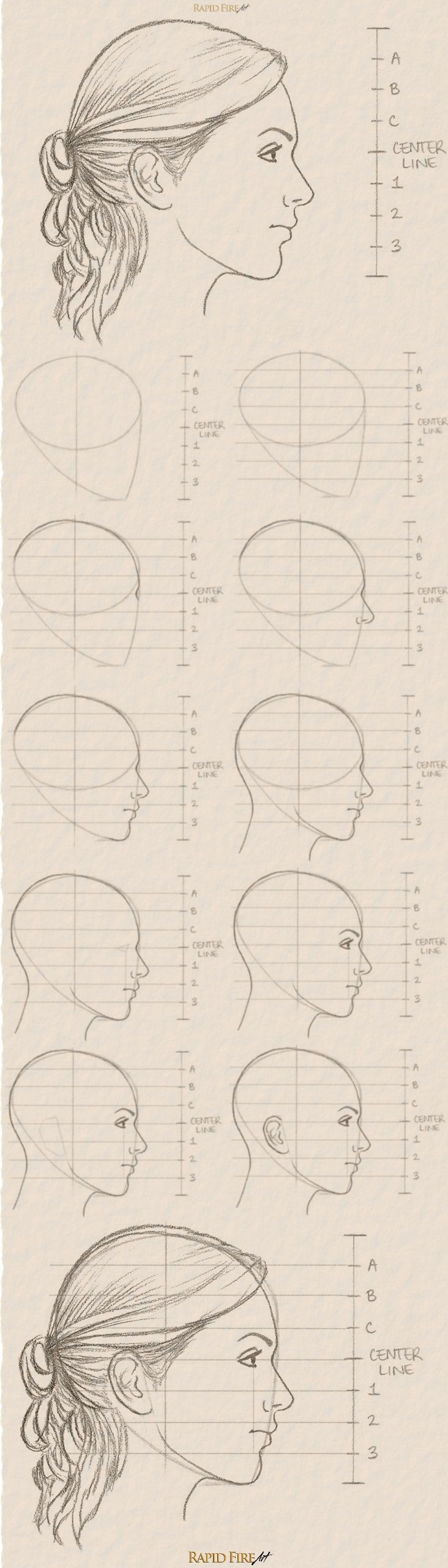 how to draw a female face side view female faces tutorials