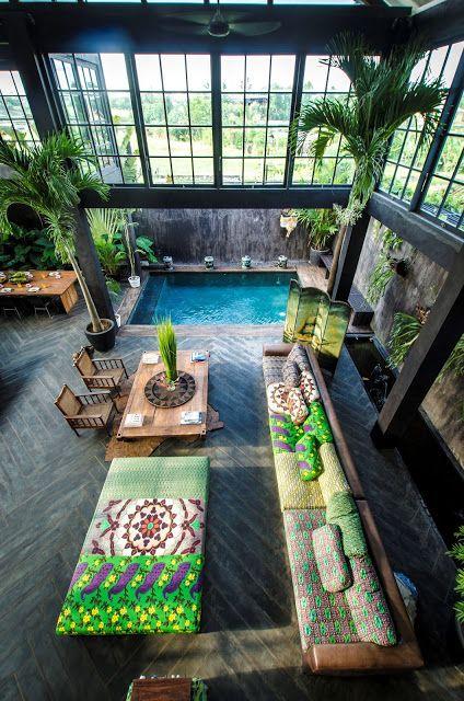 Inspiration terrasse, de la couleur, du bois et de l'eau #loftdesign