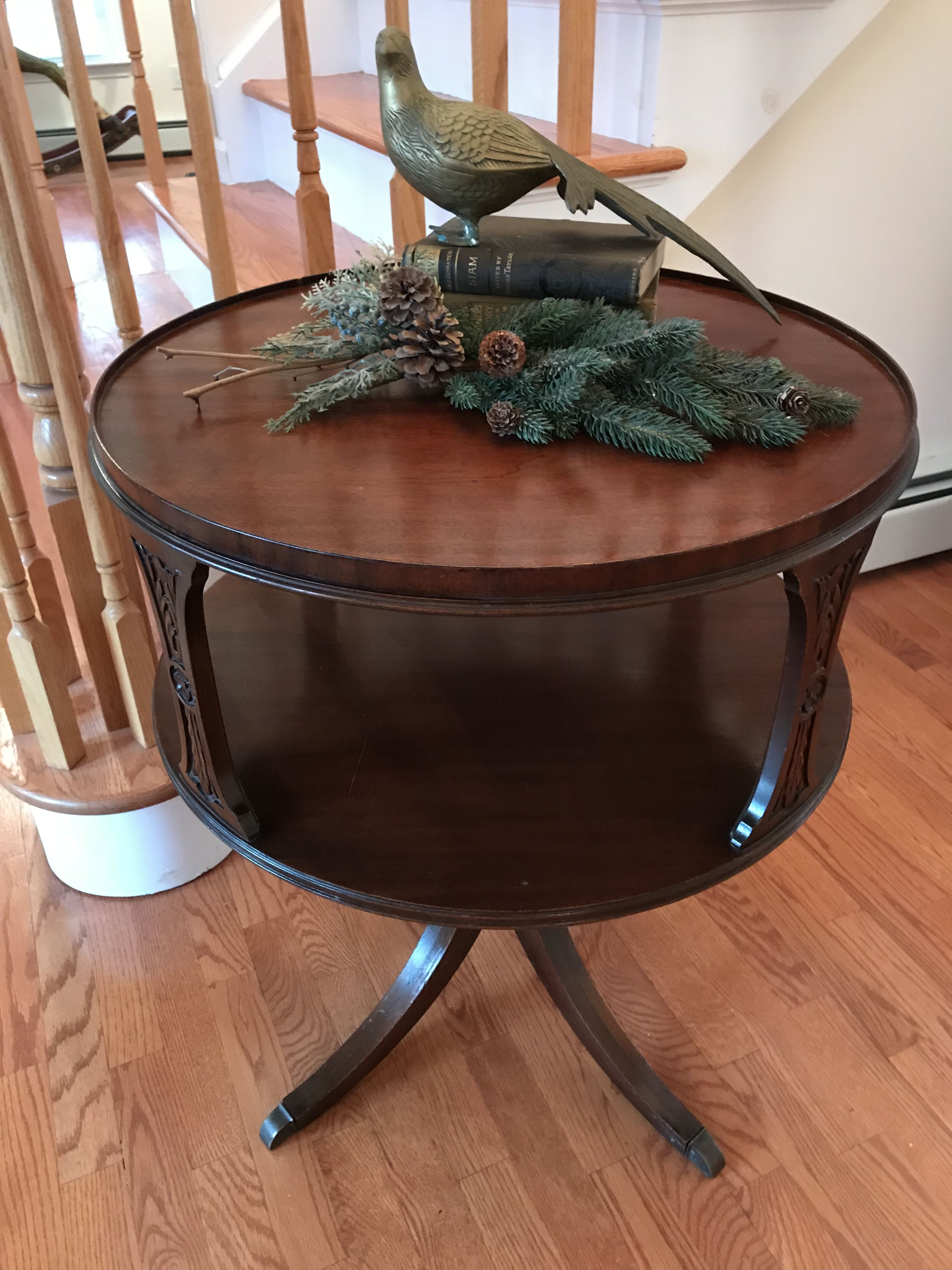 Antique Mahogany Two Tier Round Drum Table Imperial Grand Rapid Drum Table Mahogany Antiques