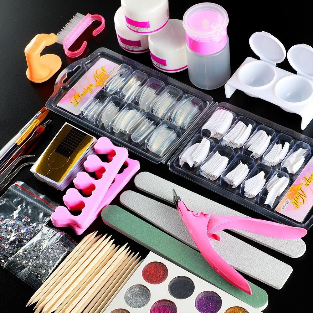 Acrylic Nail Art Kit Manicure Set 12 Colors Nail Glitter Powder