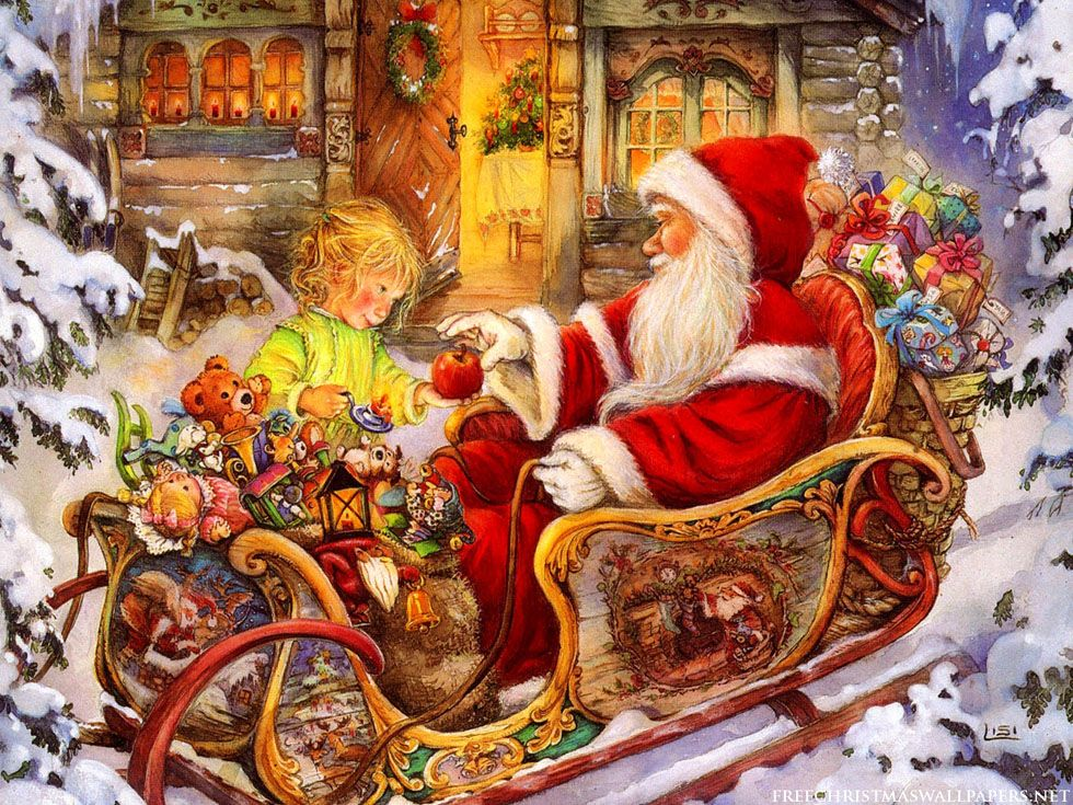 40 beautiful christmas paintings for your inspiration - Christmas Santa Pictures