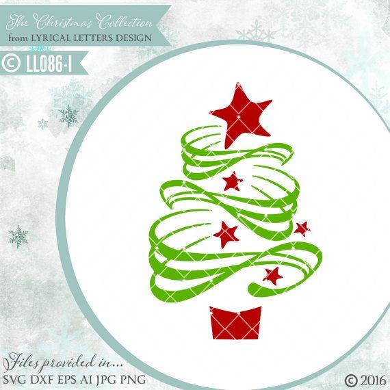 bbddadf7b1889 Swirly Christmas Tree with Stars LL086 I - SVG DXF Fcm Ai Eps Png ...