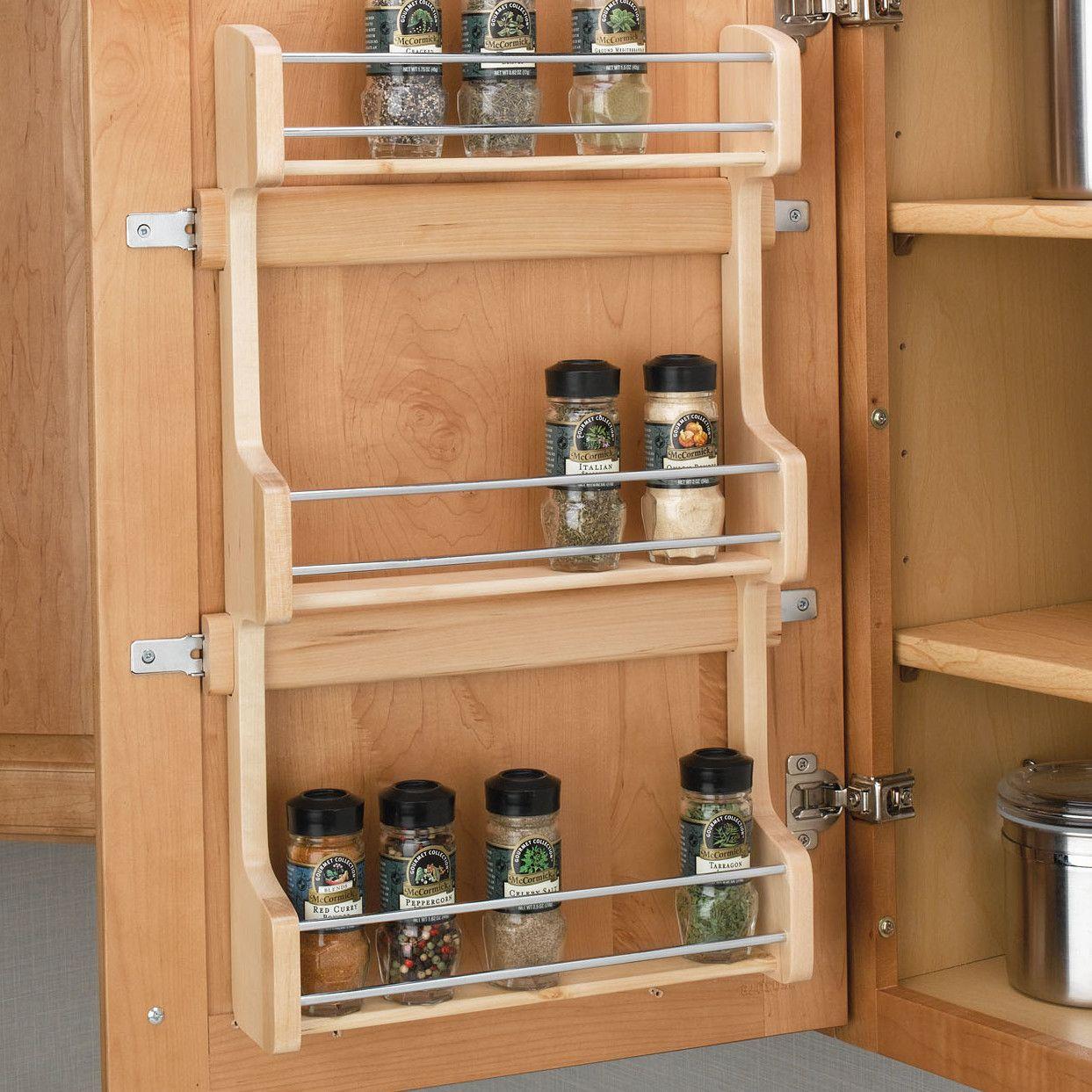 Rev a shelf cabinet door mount 3 shelf spice rack reviews wayfair