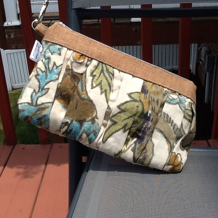 Earth Wild Thing Linen Ruffled Wristlet Clutch Zipper Bag by TogetherThreads on Etsy