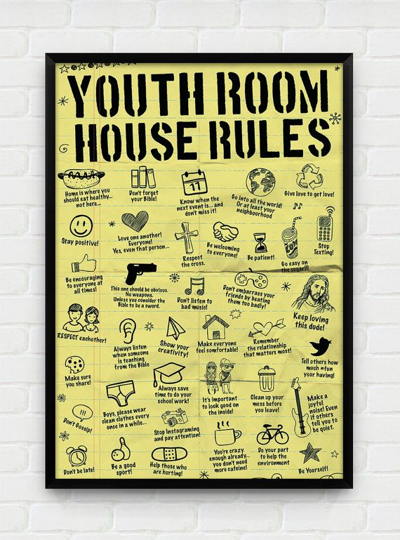 Youth room house rules something similar could make  great diy project also best rap hall images on pinterest ministry rh