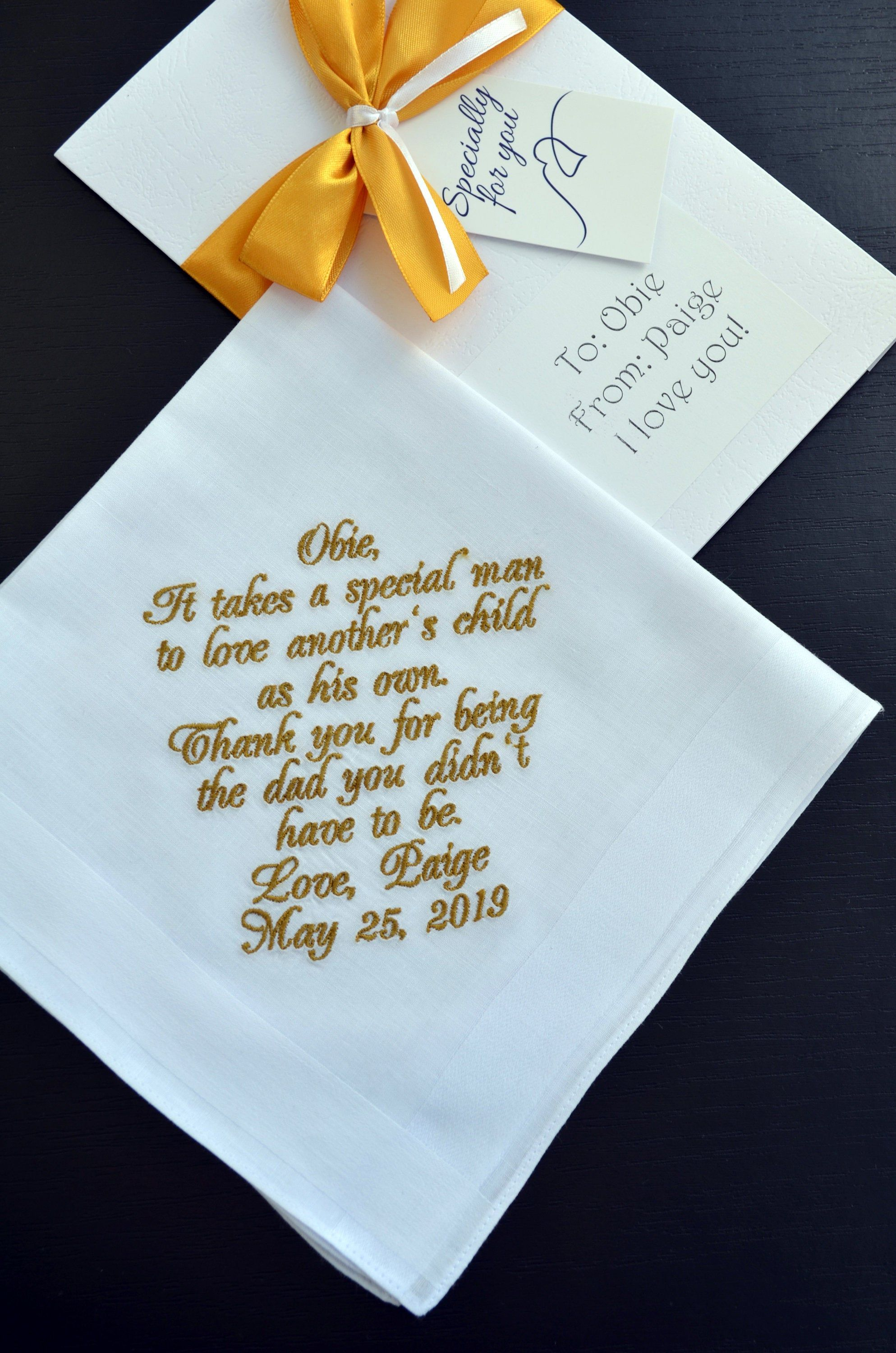 Custom embroidered wedding handkerchief mother of the