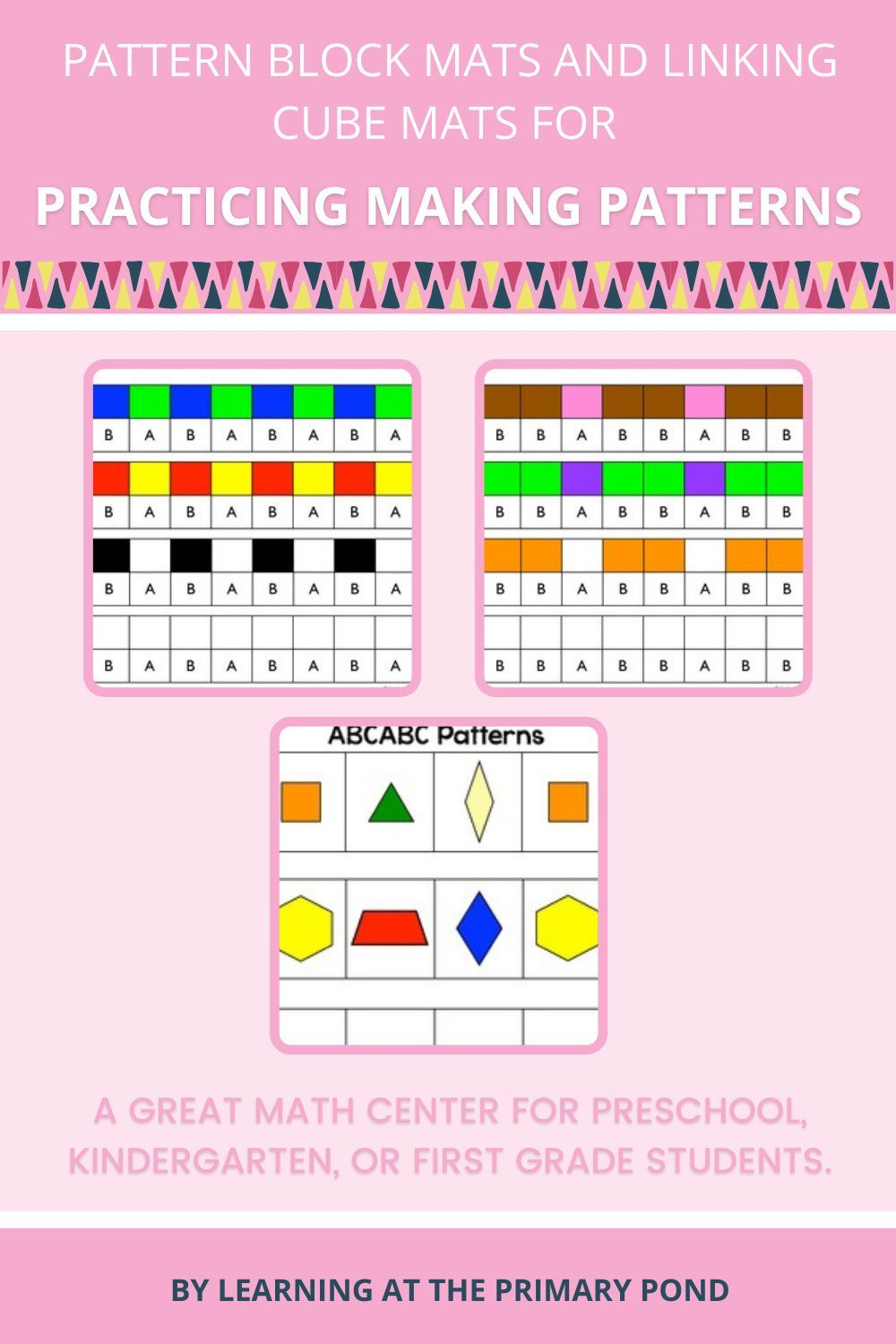 Pattern Block Mats And Linking Cube Mats For Practicing Making Patterns In 2021 Pattern Blocks First Grade Math Abc Patterns [ 1500 x 1000 Pixel ]