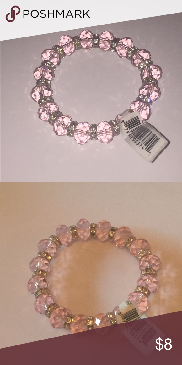 Gorgeous Pink Crystal Plastic Stretch Bracelet