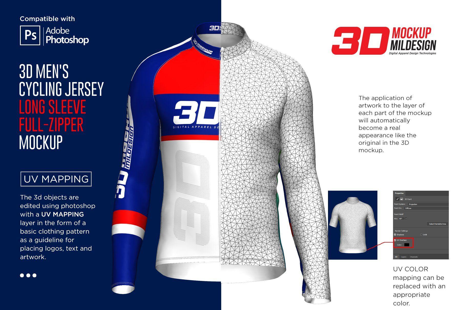 Download 3d Men S Cycling Jersey Fullzip Ls By Mild On Creativemarket Mens Cycling Cycling Jersey Men