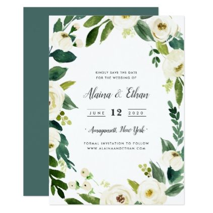 Alabaster Save the Date Card Floral invitation, Flower invitation - fresh wedding invitation card create