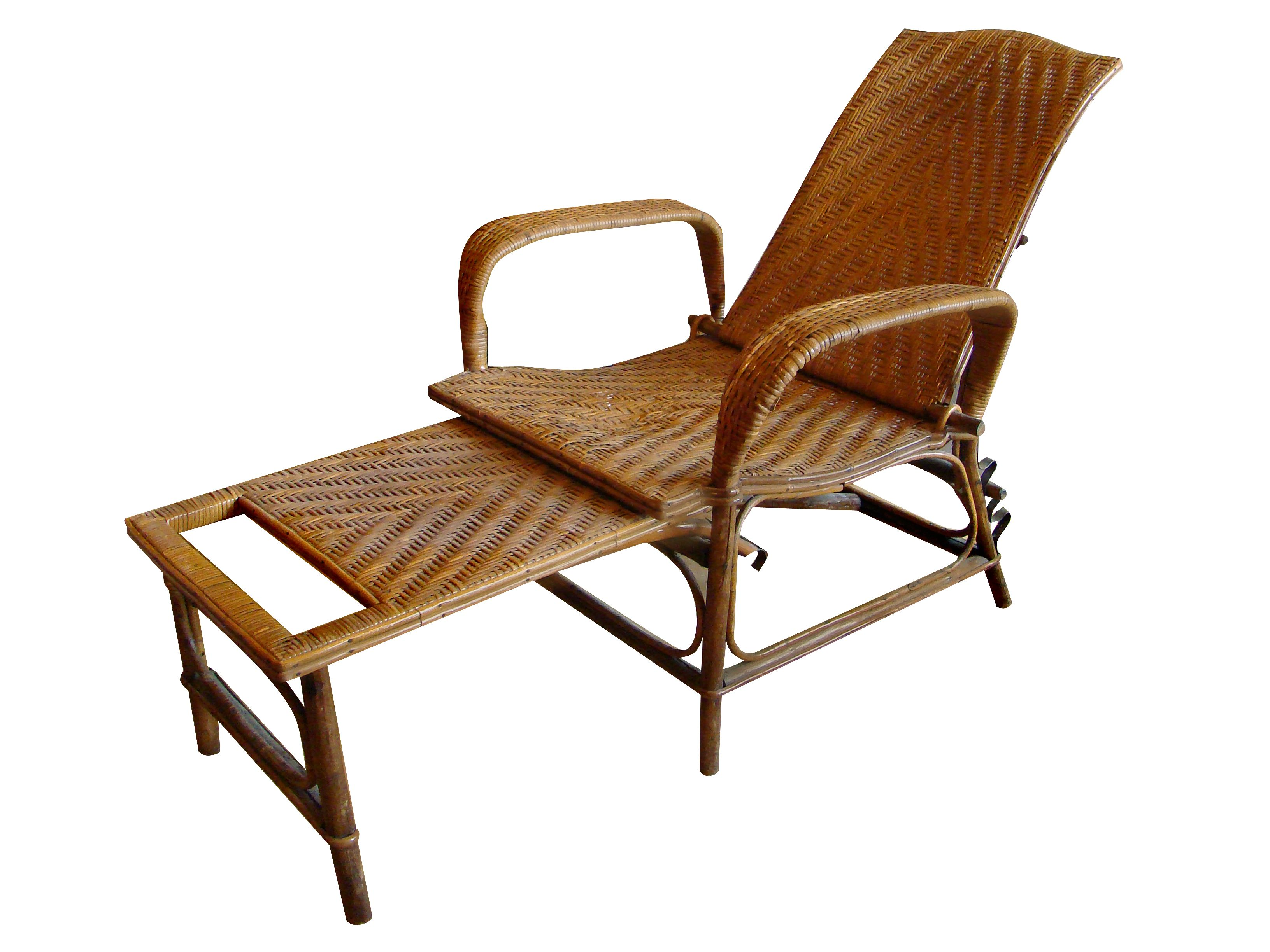 Vintage Rattan and Bamboo Chaise Lounge