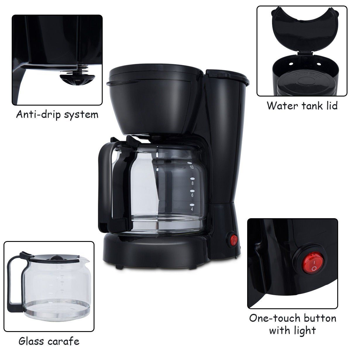 Costway portable espresso coffee brewer cup switch coffee maker
