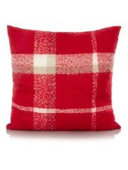 George Home Red Faux Mohair Woven Check Cushion - Large  58x58cm