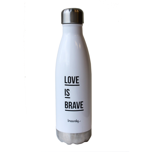 Our water bottle keeps cold drinks cold and hot drinks hot for hours on end! Vacuum sealed, double-walled aluminum. This is one clever water bottle! Buy Bravely, change lives.
