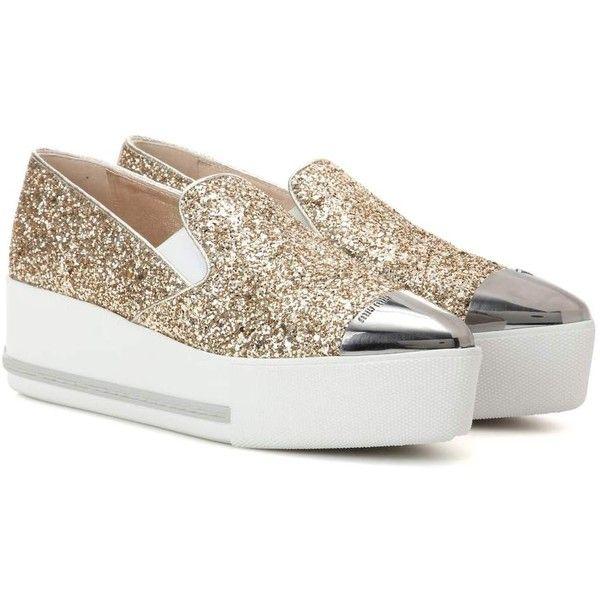 Miu Miu Glitter Platform Slip-on
