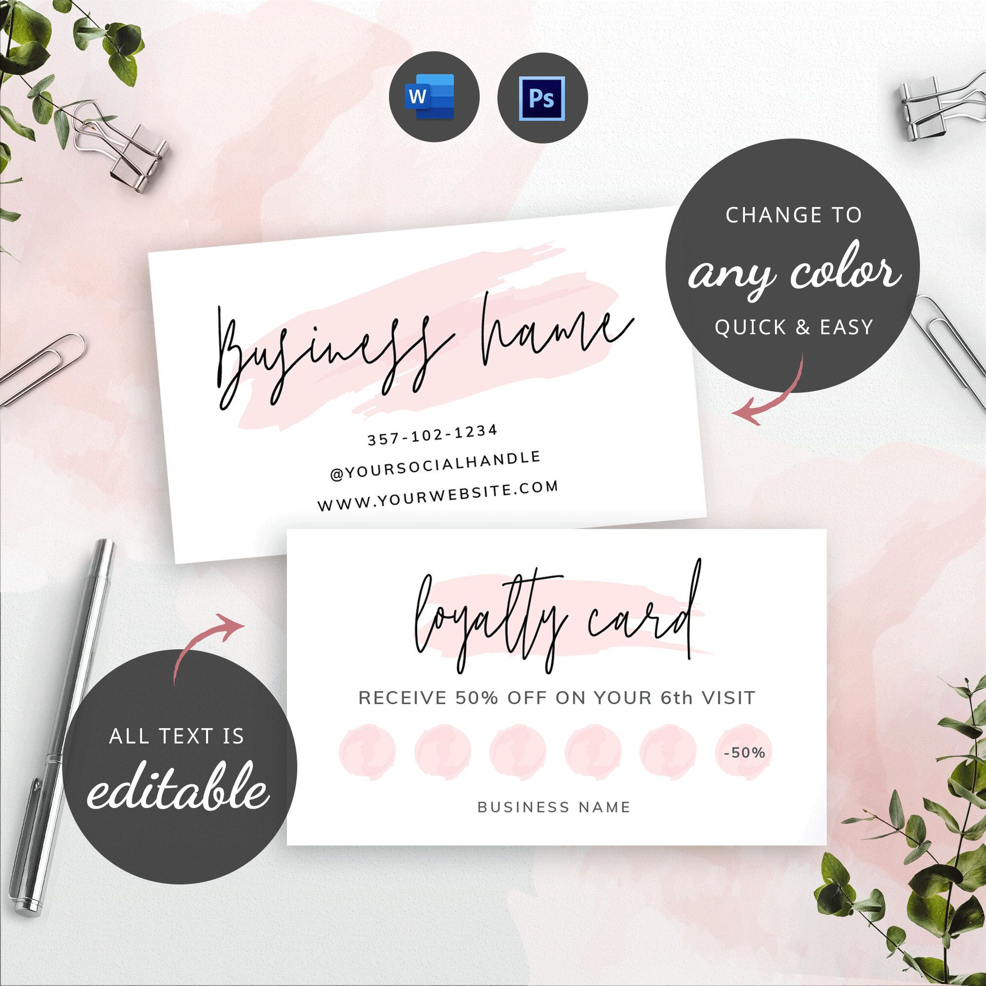 Printable Loyalty Card Beauty Loyalty Card Template Editable Etsy In 2021 Loyalty Card Design Loyalty Card Template Gift Certificate Template