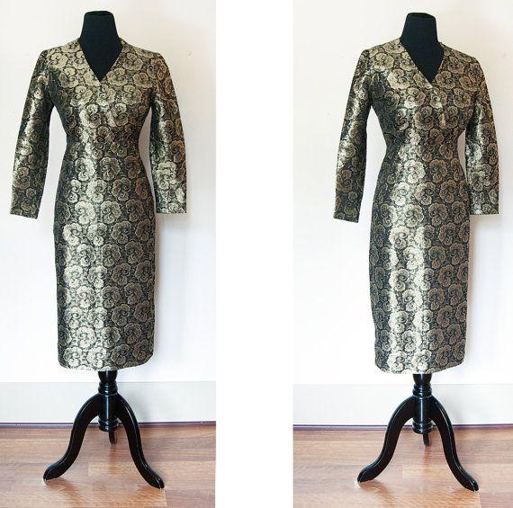 Vintage 1950s Dress  Gold Brocade Leaf  by dejavintageboutique, $85.00
