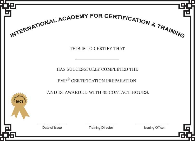 iACTglobal sample Certificate for PMP Course Sample Certificate - computer certificate format