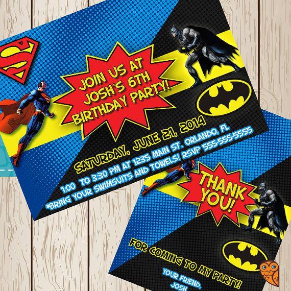 Superman vs batman birthday party invitation printable on etsy printable batman superman birthday invite by brightowlcreatives 1000 stopboris Choice Image