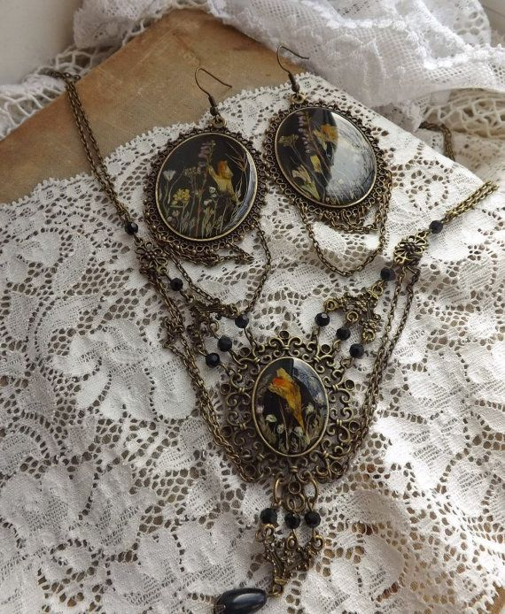Earrings and vintage necklace set .100 Handmade. by DASHARTSTUDIO, $105.00