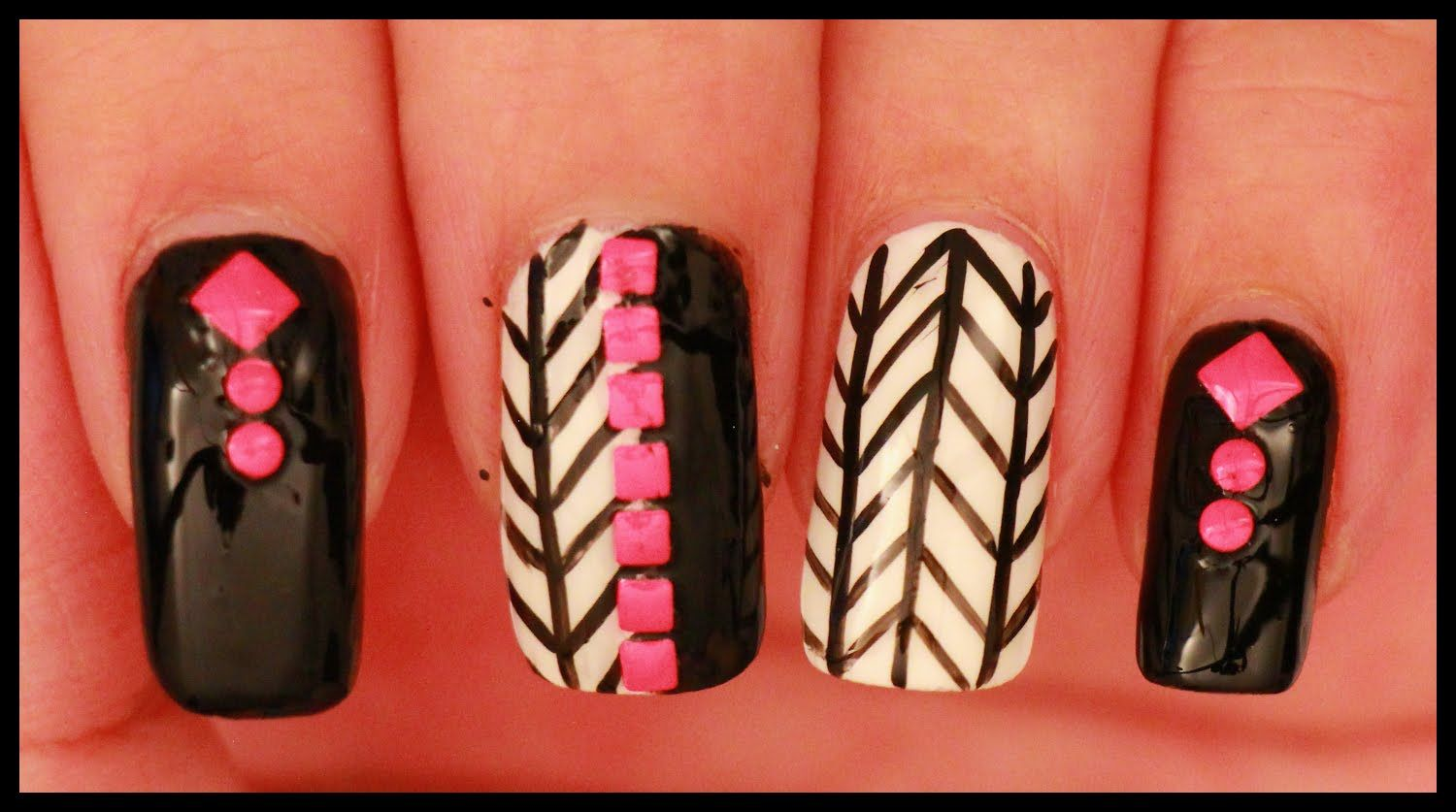 Black & White with Neon Pink nail art | Nails & Toes Designs to re ...