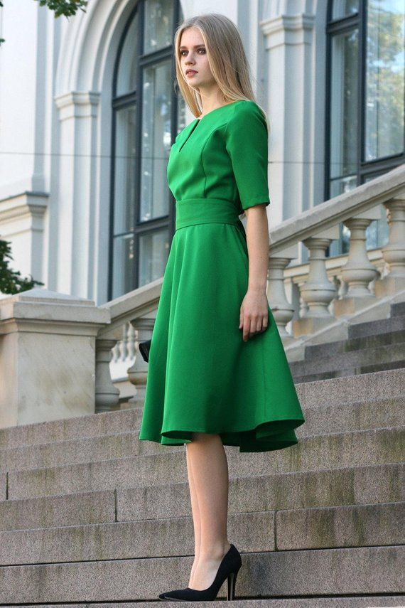 07b2c4bced Midi Dress, Green Dress, Formal Dress, Office Dress, Summer Clothing,  Cocktail Dress, Elegant Dress,