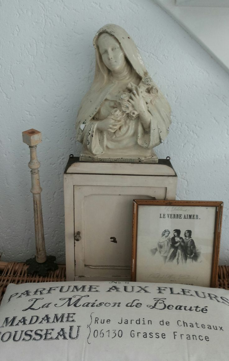 Lovely White Vintage Mary Display Brocant Religious Art  # Muebles Nelly Maria