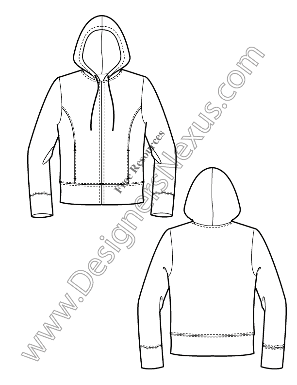 V10 Knits Hoodie Free Illustrator Fashion Flat Sketch Template