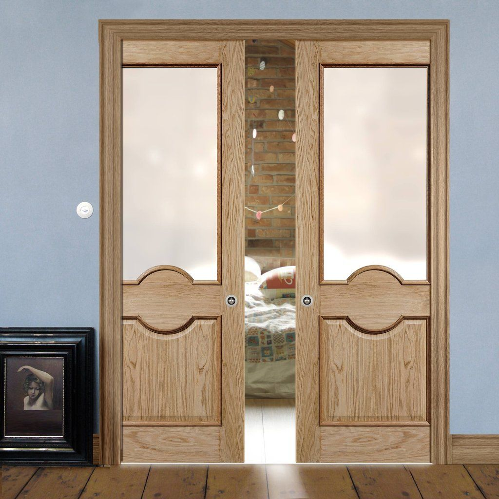 Double Pocket Marseille 1 Panel 1 Pane Oak Door With Raised Mouldings And Frosted Safety Glass Pocketdoor Moul Pocket Doors Sliding Pocket Doors Oak Doors