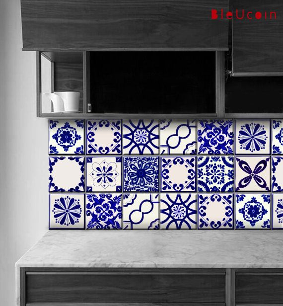 Tile/Wall/Stair decal  Classic Mexican Talavera style, Removable - Peindre Du Carrelage De Sol