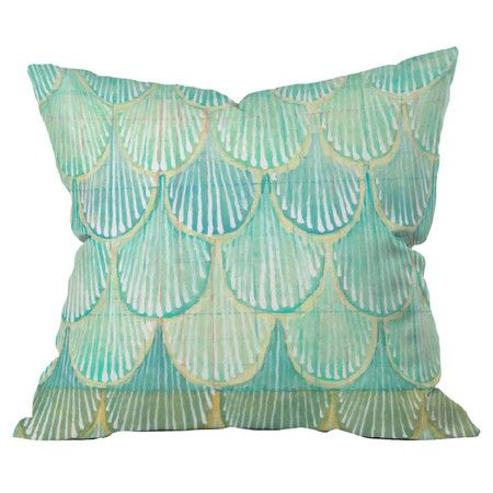 Add a chic pop of pattern to your sofa, chaise, or bed with this eye-catching pillow, showcasing a scallop motif and cool-toned palette. Made in the USA.