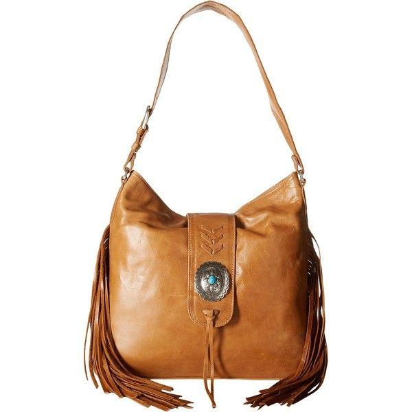 American West Seminole Soft Slouch Hobo (Deerskin) Hobo Handbags (€105) ❤ liked on Polyvore featuring bags, handbags, shoulder bags, yellow, fringe crossbody purse, shoulder strap purses, hand bags, hobo handbags and fringe crossbody