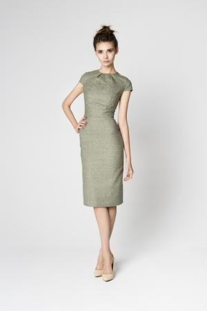 Standesamtkleid grün mit Ärmeln aus Baumwolle | Kleider ...