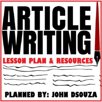 Article writing lesson and resources TpT STAR PRODUCTS  TEACHING - lesson plan objectives
