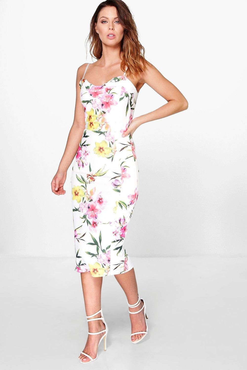 Marlena Strappy Floral Midi Bodycon Dress | Floral and Dresses
