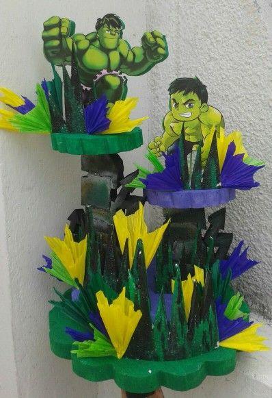 Centros De Mesa Con Personajes De Marvel Centros De Mesa Hulk Cumple De Hulk Decoracion De Fiestas Infantiles