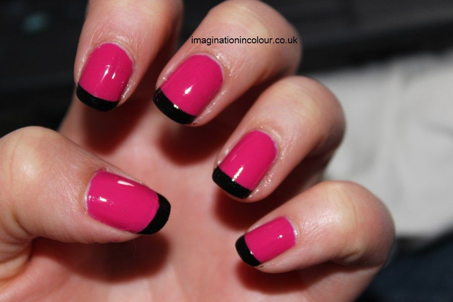Barry M Shocking Pink Black french tips manicure Nailene perfect ...
