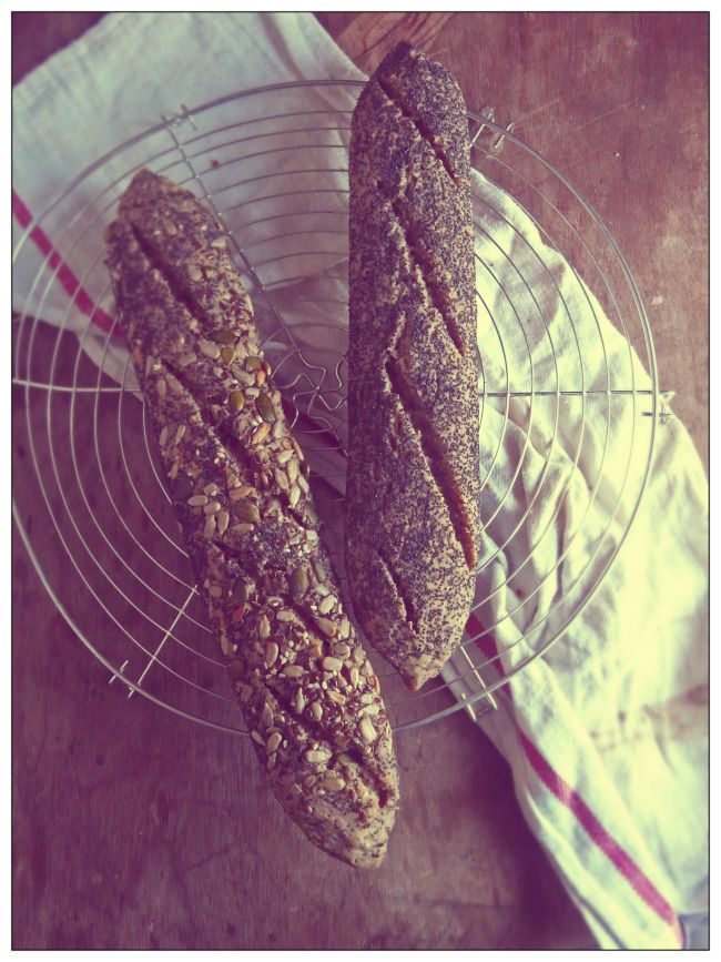 Seeded gluten-free baguettes