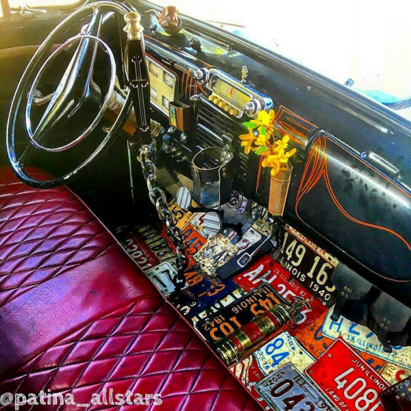 License Plate Covered Floor Of The Sea Hag Custom Ratrod Pickup