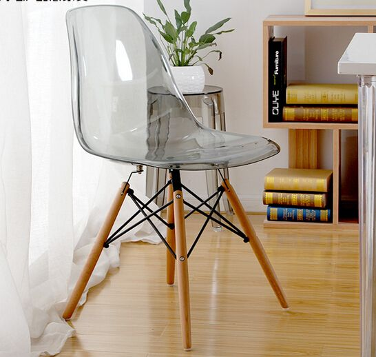 3 Chairs! MAV Furniture Modern Designer Iconic Plastic Chair, Clear/Transparent  Seat,
