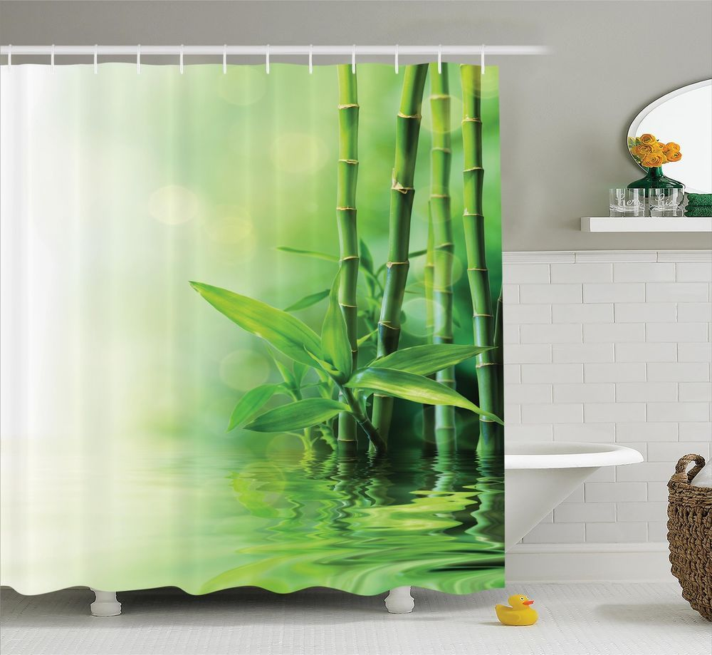 Modern asian design fabric shower curtain w metal hooks