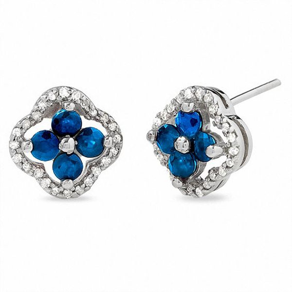 Blue Sapphire Clover Earrings In 10k White Gold With Diamond Accents Blue Sapphire Sapphire Bracelet White Gold