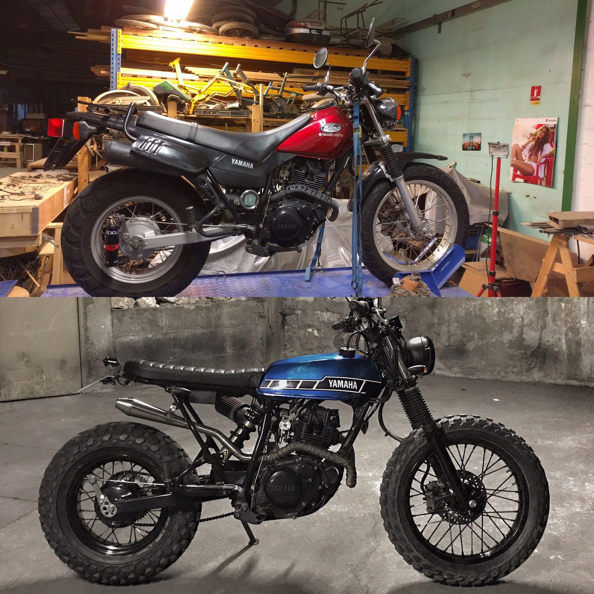 tw yamaha 125 by lost mechanics before and after custom. Black Bedroom Furniture Sets. Home Design Ideas