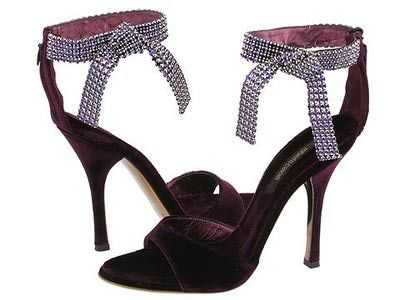 Black rhinestoned anklet bow high heel shoes. Old Hollywood. #Timeless