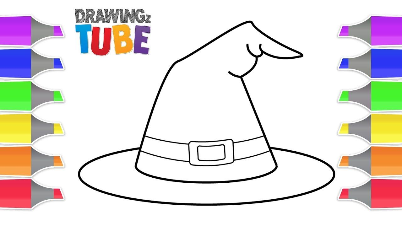 How To Draw A Witch Hat For Kids Halloween Videos Educational Videos Drawing Videos For Kids How To Draw A Witch Hat Kids Hats