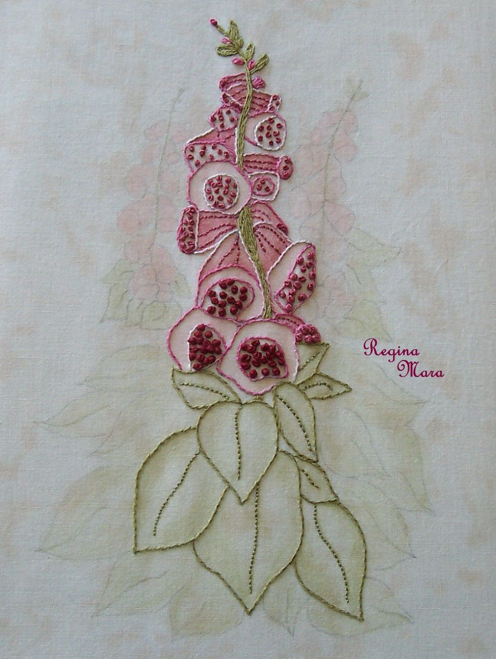 English country garden paintings - My English Country Garden Quilt Hand Embroidery And Watercolour Painting Block1