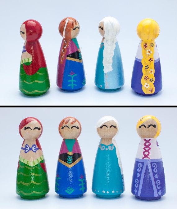 Set Of 4 Disney Inspired Princess Peg Dolls You Choose Disney