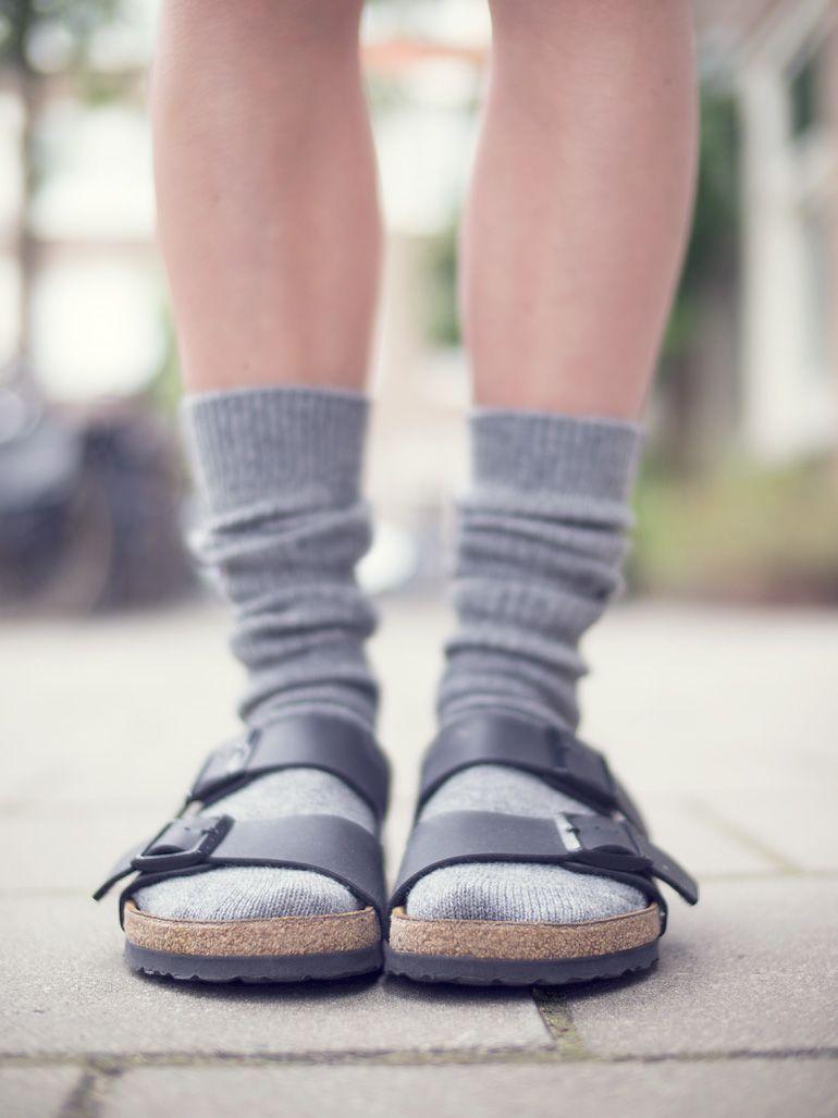 Wearing Black Arizona Birkenstock With Grey Socks For A