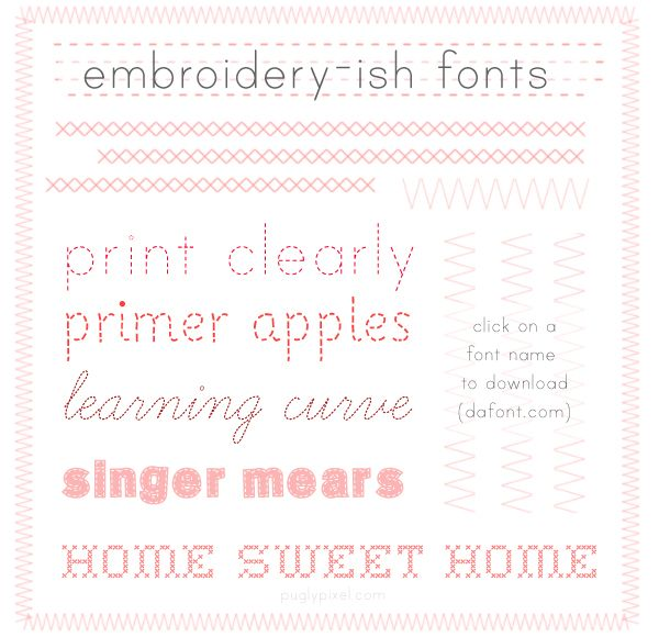 Great Sewing Fonts Http://www.puglypixel.com/2010/10/15