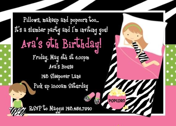 17 Best images about party invitations – Invitations for Sleepover Party
